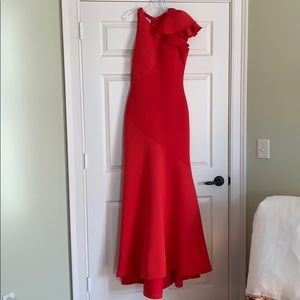 Jovani  bow shoulder red gown
